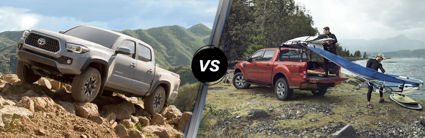 Gray 2019 Toyota Tacoma on a Rocky Trail vs Red 2019 Ford Ranger by the Water with Men Unloading a Boat