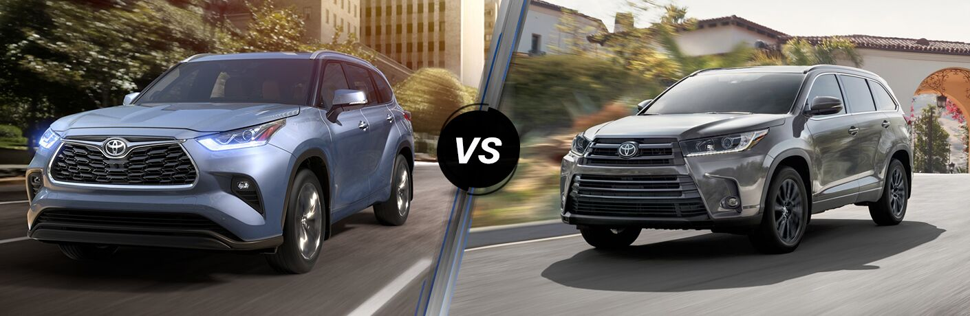 Blue 2020 Toyota Highlander on City Street vs Black 2019 Toyota Highlander on City Street