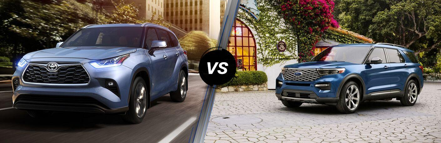 Light Blue 2020 Toyota Highlander on City Street vs Blue 2020 Ford Explorer in a Driveway