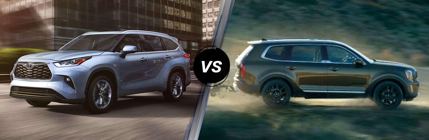 Blue 2020 Toyota Highlander on City Street vs Gray 2020 Kia Telluride on the Trail