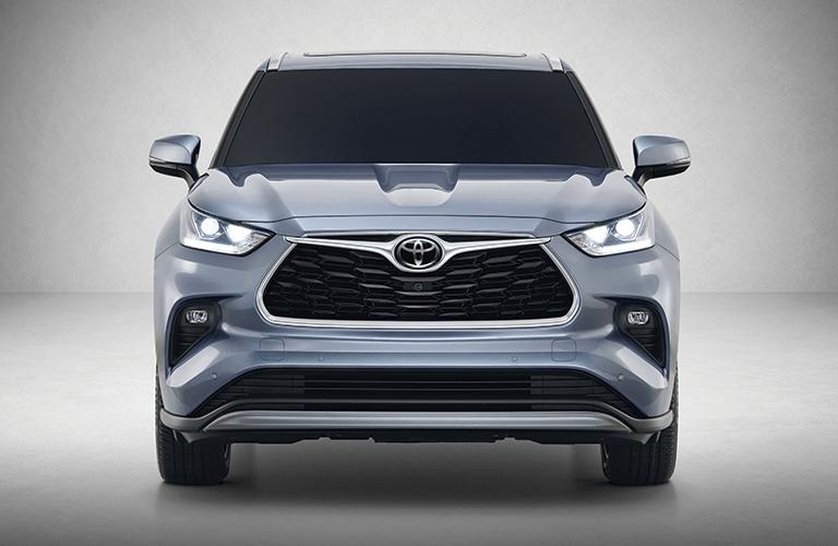 Blue 2020 Toyota Highlander Front Exterior on Gray Background