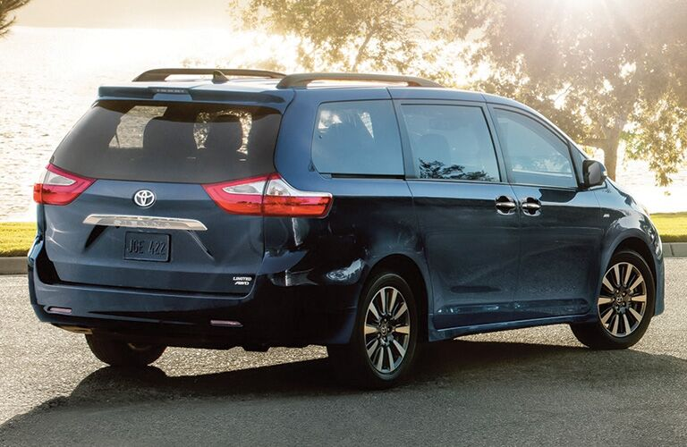 Blue 2020 Toyota Sienna Rear Exterior at the Park