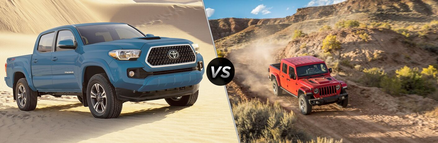 Blue 2020 Toyota Tacoma in the Desert vs Red 2020 Jeep Gladiator on Desert Trail