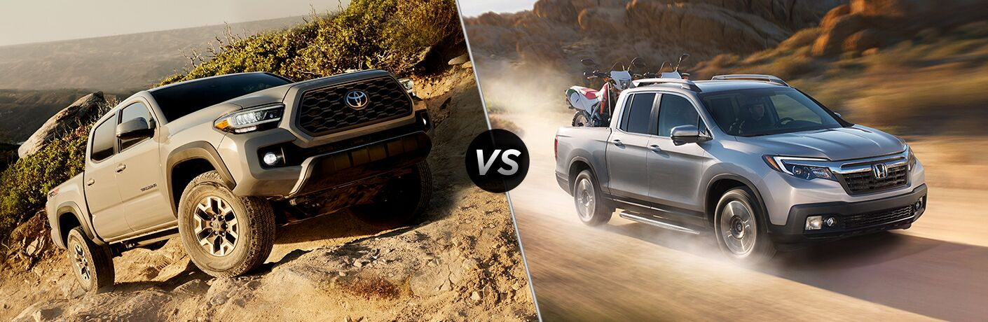 Gray 2020 Toyota Tacoma on a Rocky Trail vs Silver 2019 Honda Ridgeline on Dirt Trail