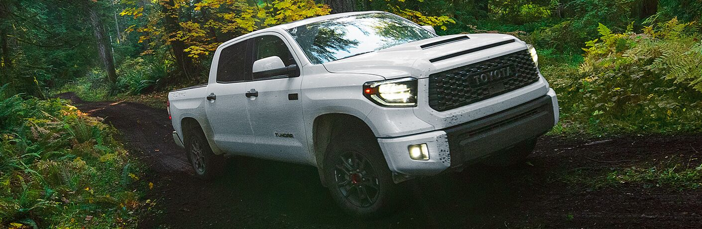 White 2020 Toyota Tundra TRD Pro on Muddy Trail