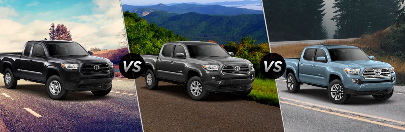 Black 2019 Toyota Tacoma SR on a Country Road vs Gray 2019 Toyota Tacoma SR5 on a Mountain Road vs Blue 2019 Toyota Tacoma Limited on a Country Road