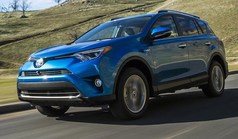 Blue 2016 Toyota RAV4 on Road