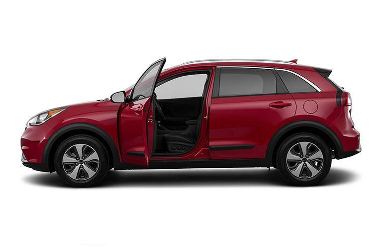 Driver's Side Door Opened on a Red 2018 Kia Niro