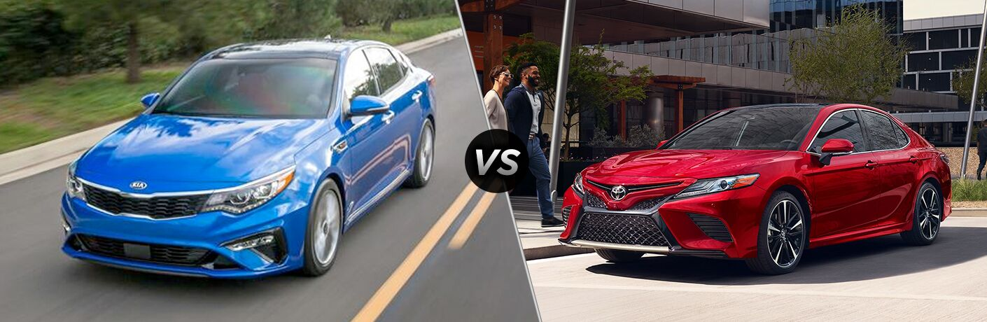 Blue 2019 Kia Optima, VS icon, and red 2019 Toyota Camry