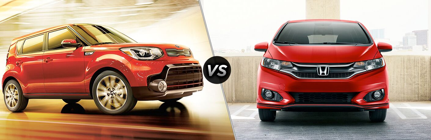Orange 2019 Kia Soul, VS Icon, and Red 2019 Honda Fit