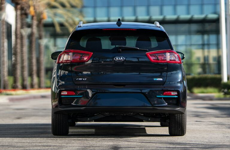 Rear view of dark blue 2019 Kia Niro EV