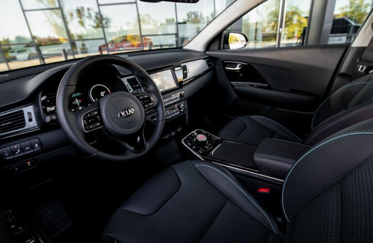 Dashboard and black front seats in 2019 Kia Niro EV