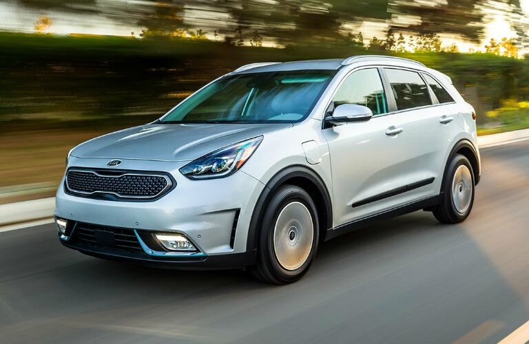Front View of Blue-Grey 2019 Kia Niro Plug-In Hybrid
