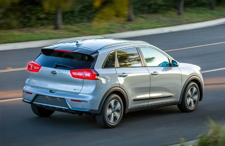 Rear View of Blue-Grey 2019 Kia Niro Plug-In Hybrid