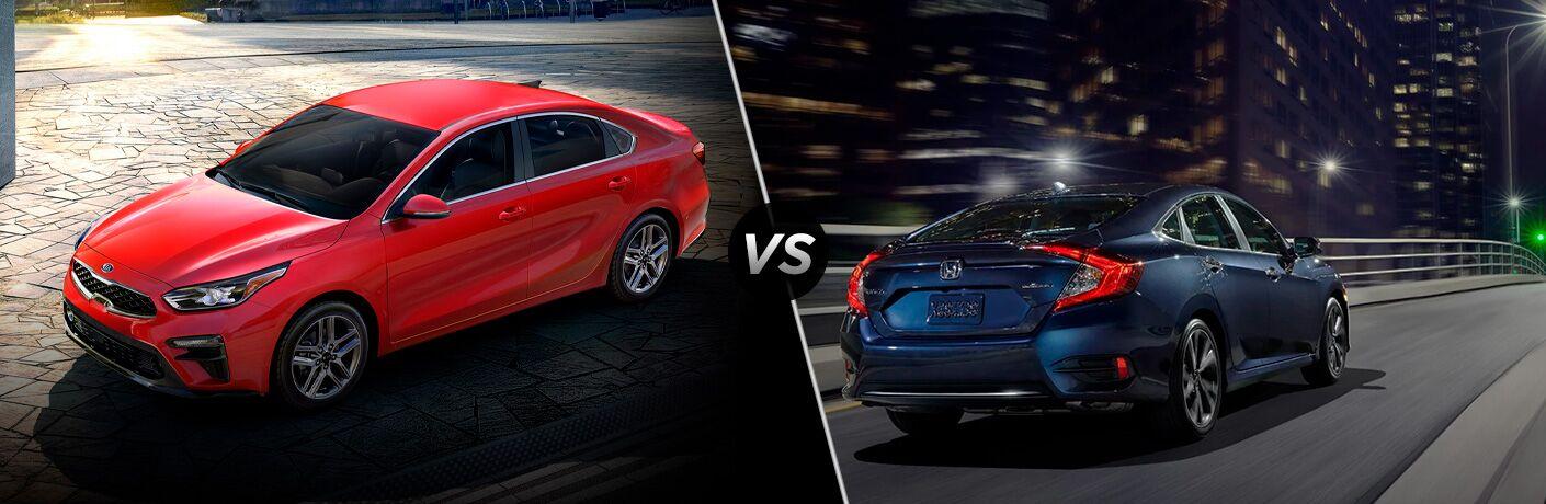Red 2020 Kia Forte, VS icon, and blue 2020 Honda Civic