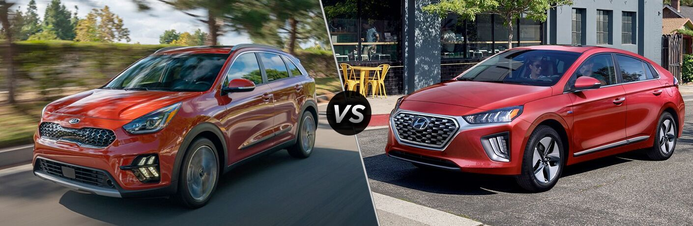 Red 2020 Kia Niro, VS icon, and red 2020 Hyundai Ioniq Hybrid