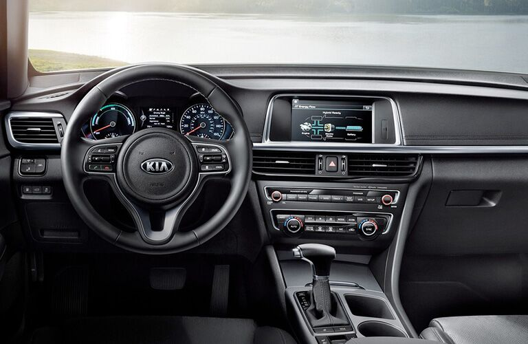 Steering wheel, gauges, and touchscreen in 2020 Kia Optima Plug-In Hybrid