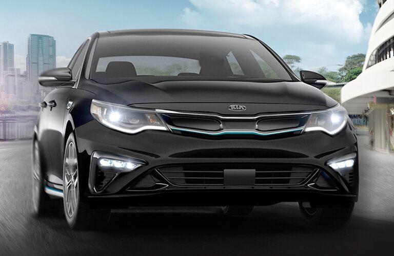 Front view of black 2020 Kia Optima Plug-In Hybrid