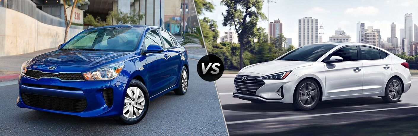 Blue 2020 Kia Rio, VS icon, and white 2020 Hyundai Elantra
