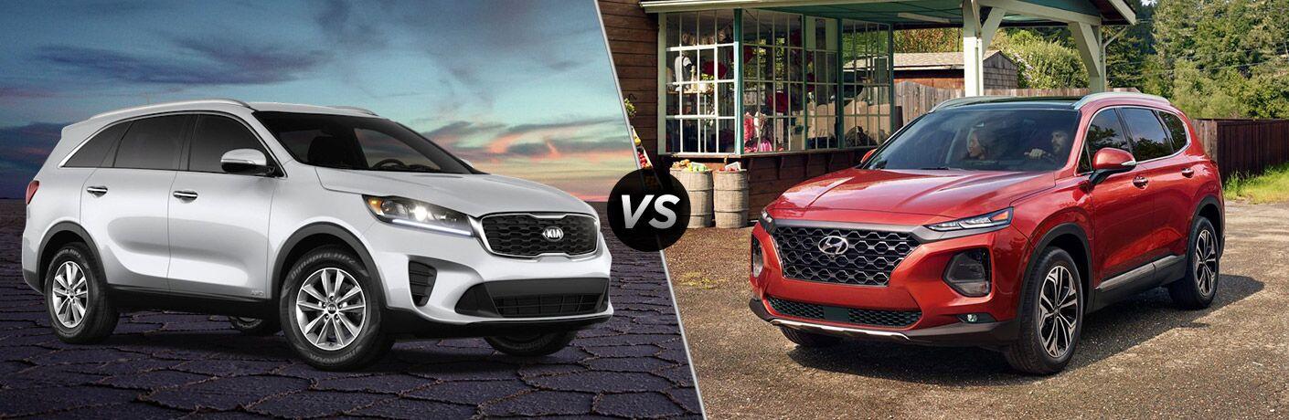 White 2020 Kia Sorento, VS icon, and red 2020 Hyundai Santa Fe