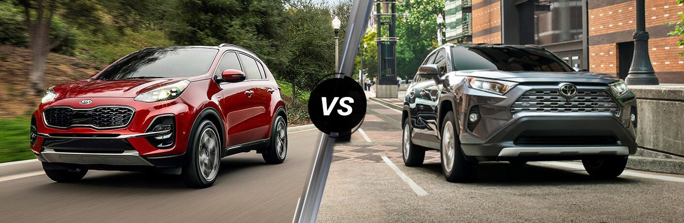 Red 2020 Kia Sportage, VS icon, and grey 2019 Toyota RAV4