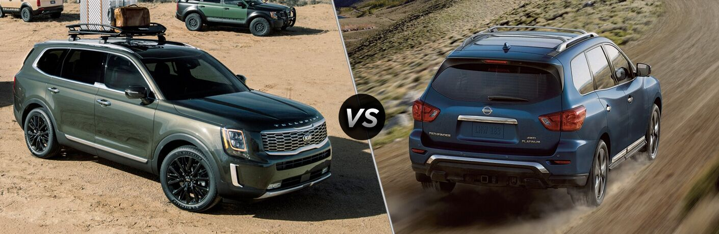 Green-grey 2020 Kia Telluride, VS icon, and blue 2019 Nissan Pathfinder