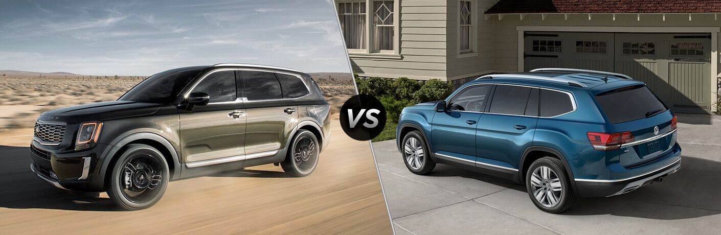 Dark grey 2020 Kia Telluride, VS icon, and blue 2019 Volkswagen Atlas