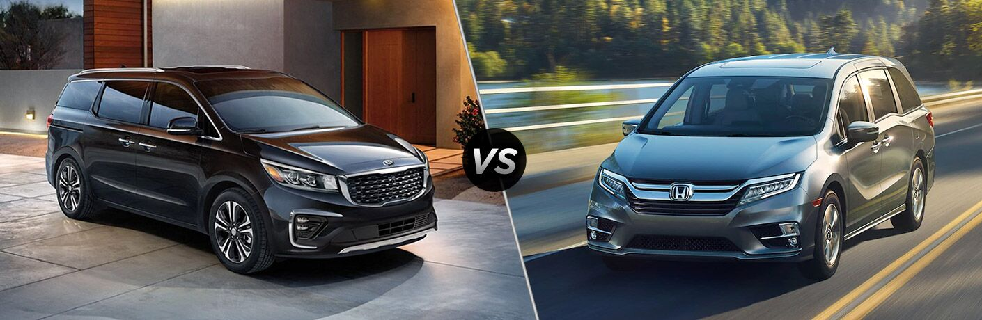 Black 2020 Kia Sedona, VS icon, and grey 2020 Honda Odyssey