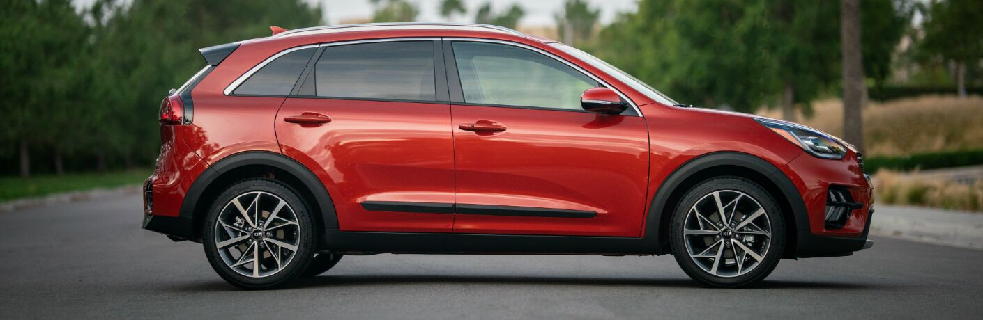 Side view of red 2020 Kia Niro