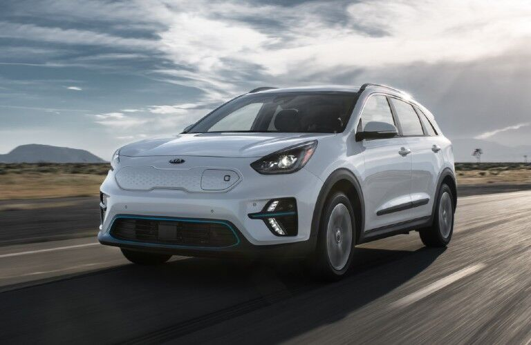 Driver's side front angle view of white 2020 Kia Niro EV