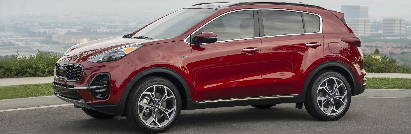 Side view of red 2020 Kia Sportage