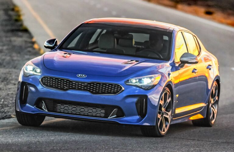 Front view of blue 2020 Kia Stinger