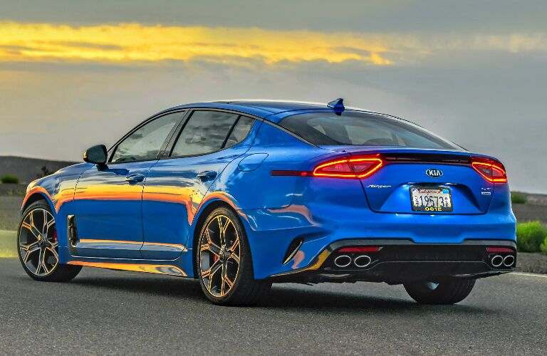 Rear view of blue 2020 Kia Stinger