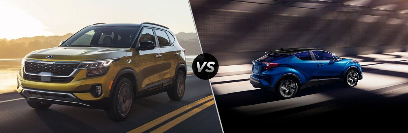 Yellow 2021 Kia Seltos, VS icon, and blue 2020 Toyota C-HR