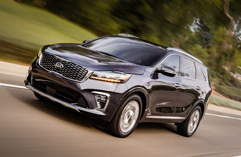 Black 2019 Kia Sorento Driving by a Forest