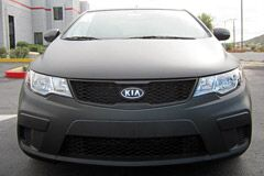 Flat Black Wrap on Kia Forte plus Flat Black Wheels