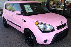 Custom Pink Wrap and Custom Wheels