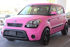 Custom Matte Pink Wrap on a new Kia Soul