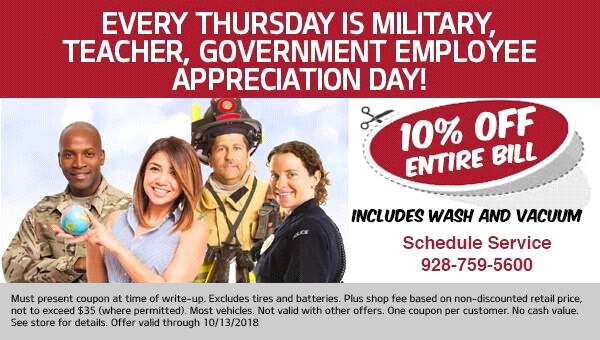 Discount available on Thursdays to Military, Teachers, and Government Employees