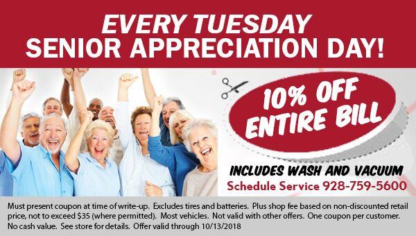 Senior Service Discount available on Tuesdays