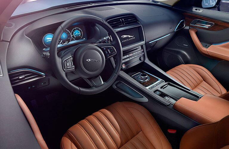dashboard and steering wheel of the 2017 Jaguar F-PACE