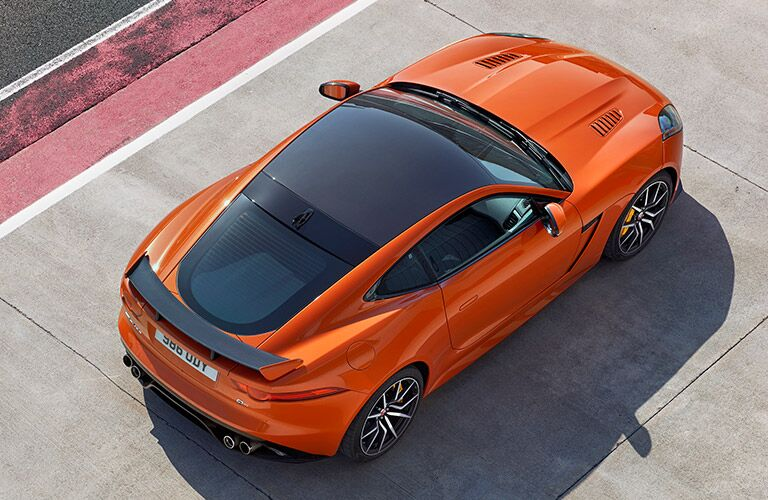 overhead view of an orange 2017 Jaguar F-Type SRV
