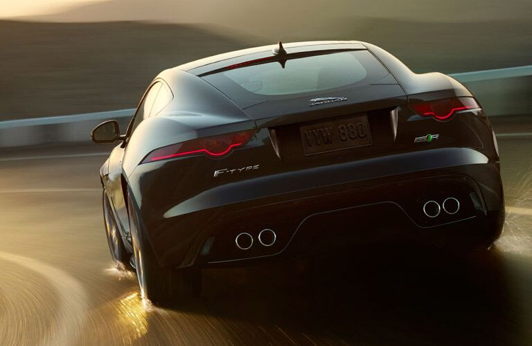rearview of the black 2017 Jaguar F-Type