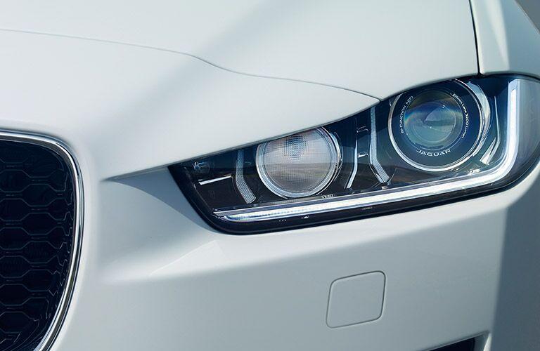 Close-up of 2017 Jaguar XE headlights