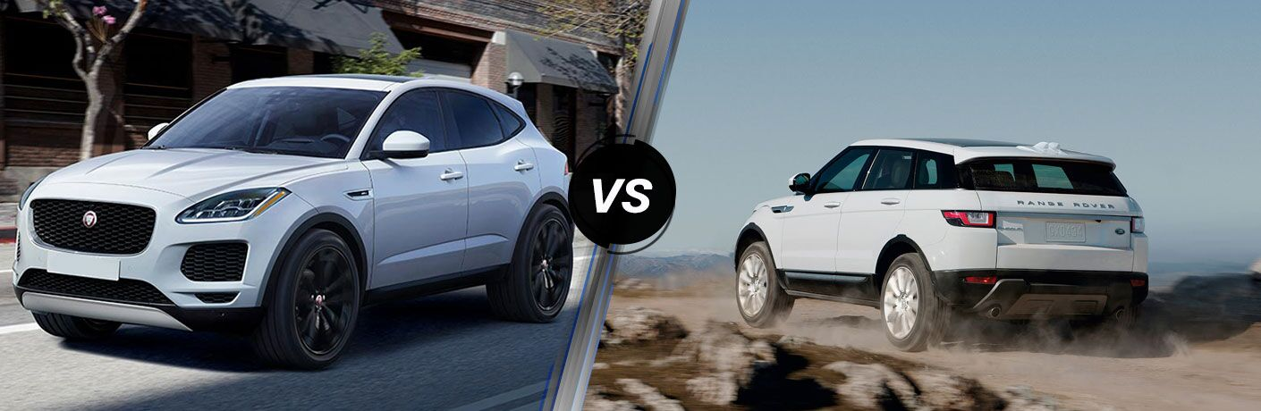 side by side images of the 2018 Jaguar E-PACE vs 2018 Land Rover Range Rover Evoque