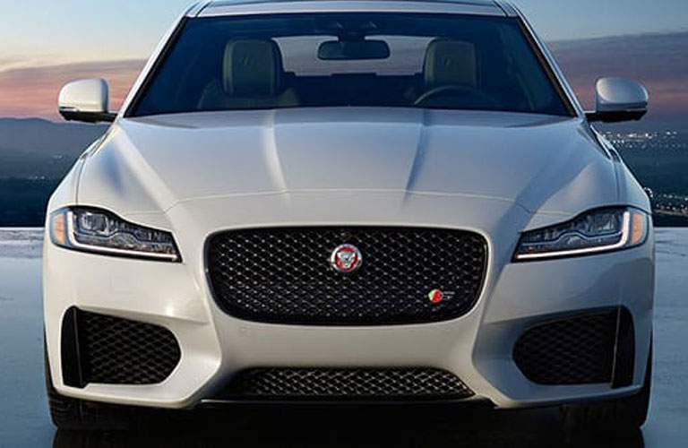 grille view of a white 2018 Jaguar XF