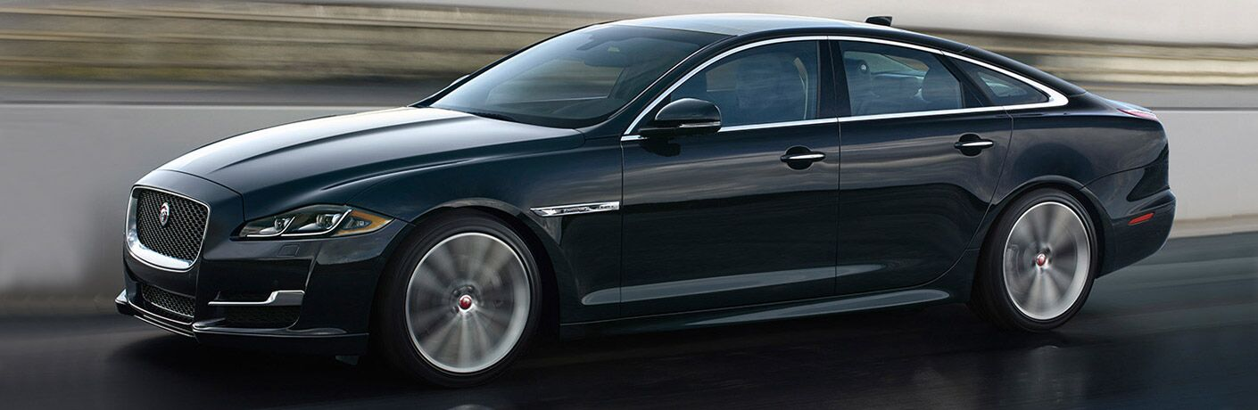 side view of the 2018 Jaguar XJ going very fast