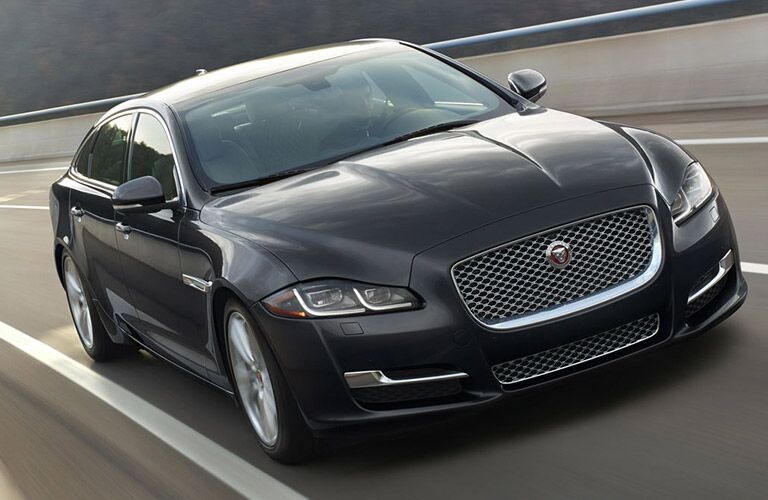 2018 Jaguar XJ seen from the front, driving on a curved road