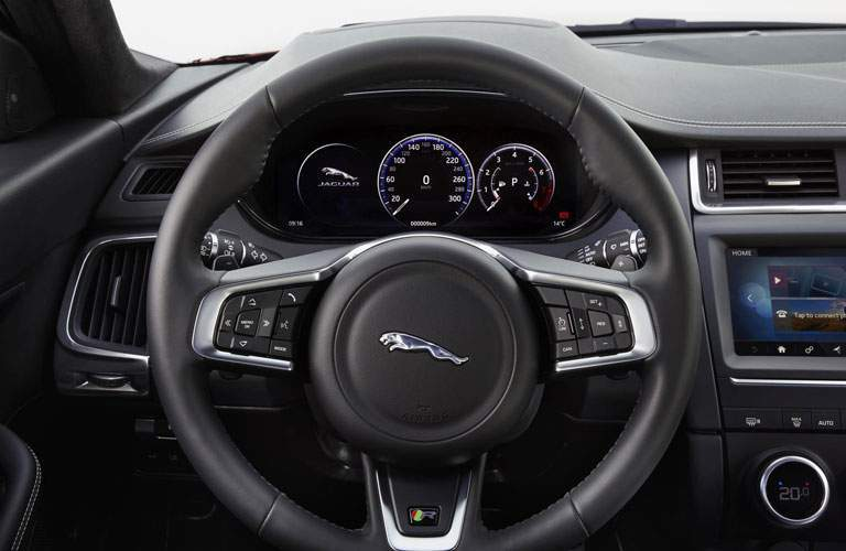 close-up on the steering wheel of the 2018 Jaguar E-PACE