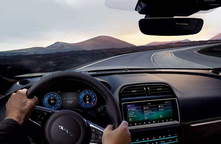 dashboard and steering wheel in 2019 f-pace
